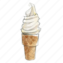 cone, dessert, frozen, sweet, vanilla, yogurt icon