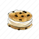 chip, chocolate, cookie, cream, dessert, ice, icecream, sandwich, sweet icon