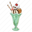 cream, dessert, frozen, ice, icecream, sundae, sunday, sweet icon