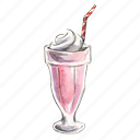 cream, dessert, frozen, ice, icecream, milk, milkshake, shake, strawberry, sweet icon