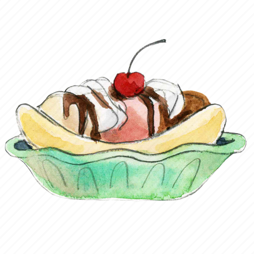 banana, cream, dessert, frozen, ice, icecream, split, sweet icon