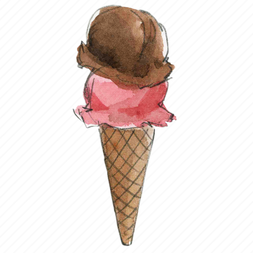chocolate, cone, cream, dessert, double, frozen, ice, icecream, strawberry, sweet icon