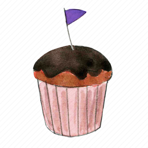 cake, chocolate, cupcake, dessert, flag, sweet icon