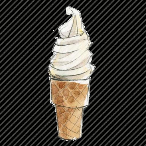 cone, dessert, frozen, sweet, vanilla, yogurt icon