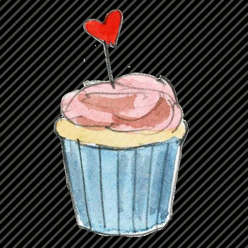 bake, cake, cupcake, dessert, heart, sweet, valentine icon