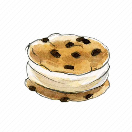 chip, chocolate, cookie, cream, dessert, ice, icecream, sandwich, sweet icon