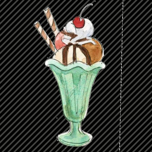 cream, dessert, frozen, ice, icecream, sundae, sunday, sweet icon