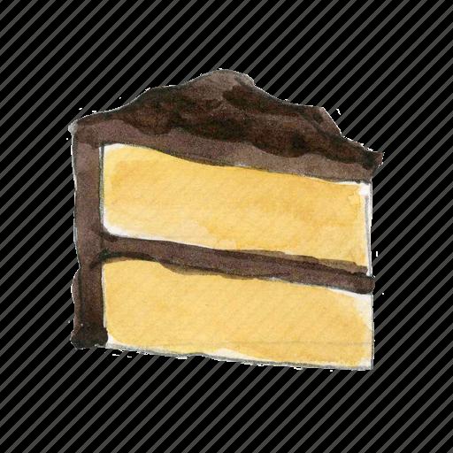 bake, cake, chocolate, dessert, slice, sweet, vanilla icon