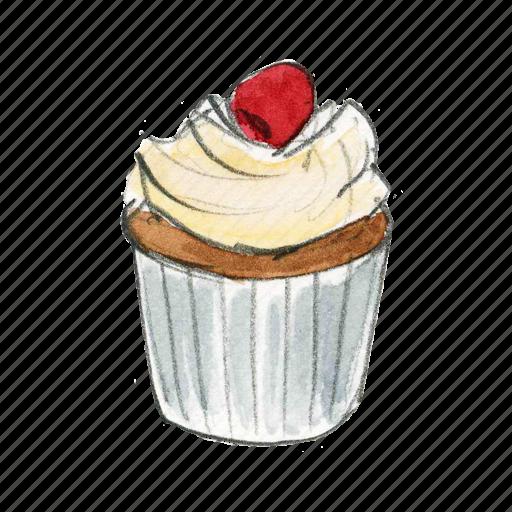 bake, berry, cake, cupcake, dessert, sweet, vanilla icon