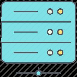 data, database, hard disk, hosting, network, storage, technology icon