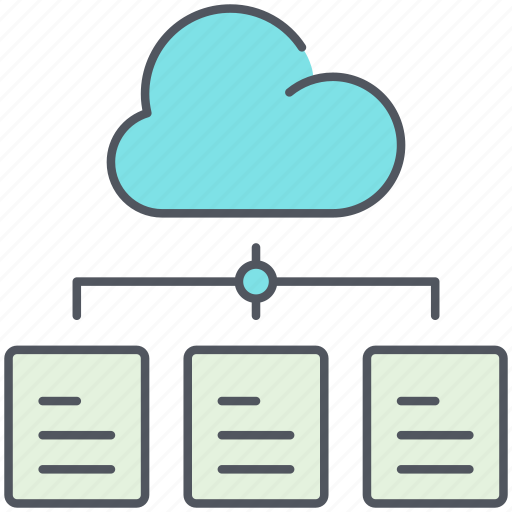 access, cloud storage, data, documents, files, link, network icon