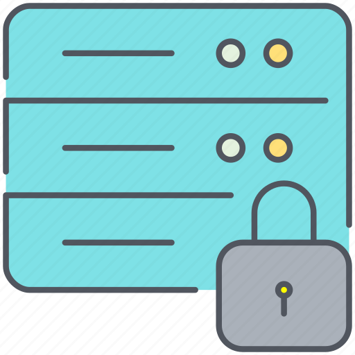 data, database, lock, network, password, protection, safety icon