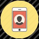 account, contact, mobile, person, phone, profile, user icon