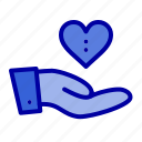 charity, donation, giving, hand, love icon