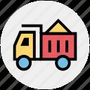3, construction, heavy machine, heavy vehicle, loading, transport, truck icon