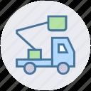 concrete bulldozer, construction, construction crane, crane, lifter, vehicle icon