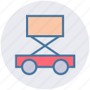 car jack, car lift, construction, garage, lifting jack, trolley jack icon