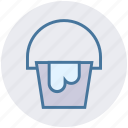 bucket, construction, pail, paint bucket, wall painting icon