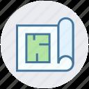 architectural paper, architecture, blueprint, construction map, house plan, paper icon