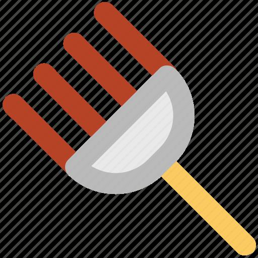 digging fork, garden rake, garden tools, hand tools, rake, spading fork icon