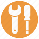 garage tool, mechanic, repair tool, spanner, spanner and screwdriver, wrench, wrench and screwdriver icon