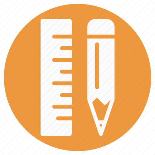 architecture ruler, geometry tool, measuring scale, measuring tool, pencil ruler, ruler, ruler and pencil icon
