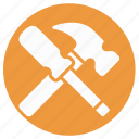 construction, hammer, hand tool, nail fixer, nail hammer, screw and hammer, work tool icon