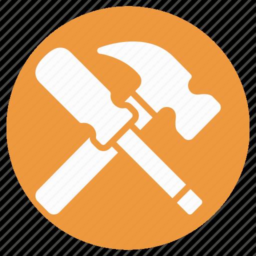 construction, hammer, hand tool, nail fixer, nail hammer, screw and hammer, work tool icon