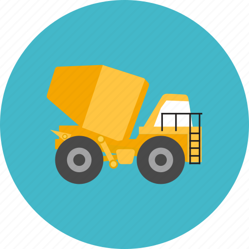 cement, concrete, construction, industry, mixer, truck, work icon