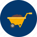 barrow, coil, construction, industry, pull, wheel, work icon