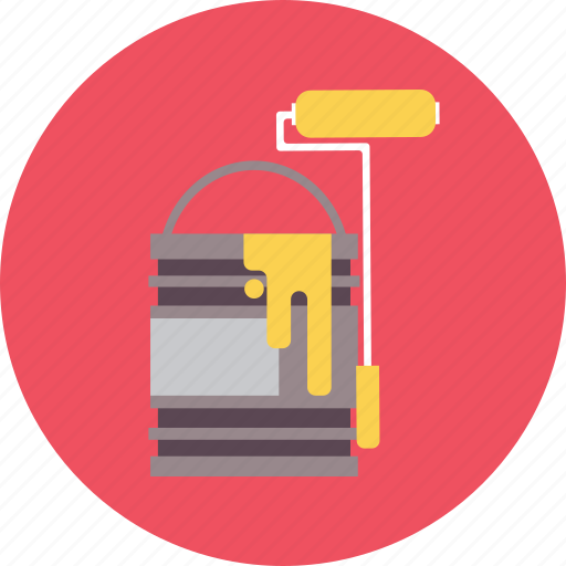 bucket, color, concept, construction, paint, roller, work icon