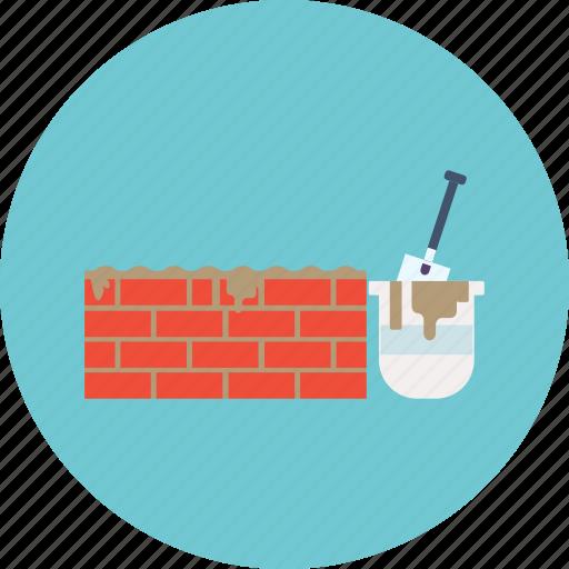 brick, cement, construction, equipment, hoe, tool, work icon