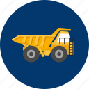 big, construction, equipment, industry, transportation, truck, vehicle icon