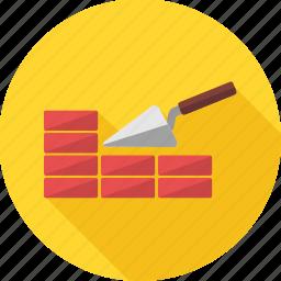 brick, building, construction, equipment, repair, tools, work icon