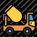 concrete, construction, mixer, transport, truck icon