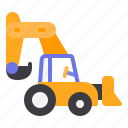 backhoe, claw, construction, heavy, vehicle icon