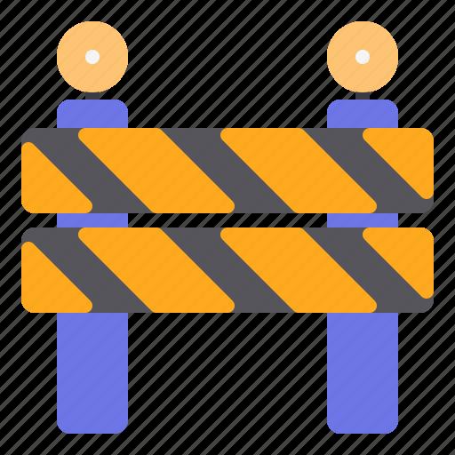 barrier, construction, danger, road, under icon
