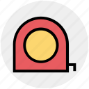 centimeters, construction, distance tool, inches, roulette construction, tape measure icon