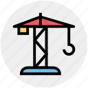 construction, construction machinery, crane, excavator, heavy machinery, lifter icon