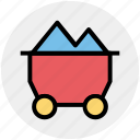 .svg, coal cart, construction, construction cart, mine cart, mine chariot, mine trolley icon