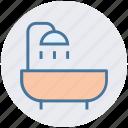 bathtub, restroom, shower, towel, tub, wash bathroom icon