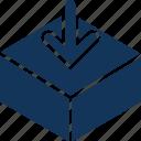 arrow, box, down arrow, filling, package icon
