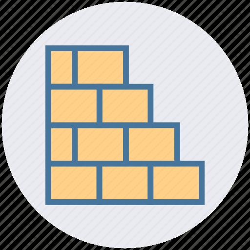 blocks, bricks, building, construction work, under construction, wall icon