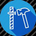 construction, hammer, nail, tools icon