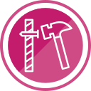 construction, hammer, nail, tools icon