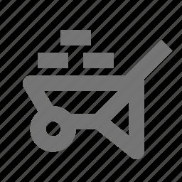 bricks, construction, wheelbarrow icon