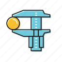 caliper, manual caliper, physics icon