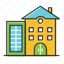 apartment, home, house, town icon