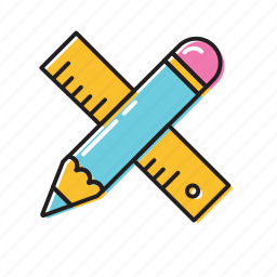 construction ruler, measure, pencil ruler icon