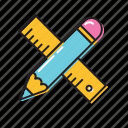 construction ruler, measure, pencil ruler icon